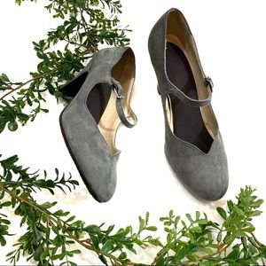 Naturalizer Gray Faux Suede Maryjane Pumps